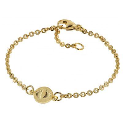 trendor 75092 Armband für Babys 333 Gold/8 Kt mit Babyfüße-Plakette 14 cm 4260641750924