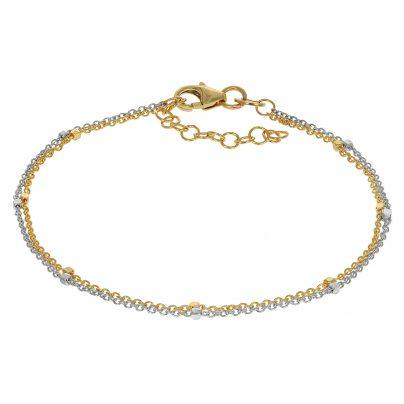trendor 75201 Bracelet for Women Gold 375 (9 ct) Two-Colour Double Row 4260641752010