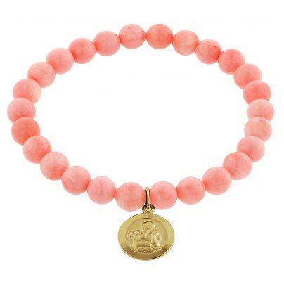 trendor 75518 Girls' Bracelet Bamboo Coral Rosé with Angel Gold 333 4260641755189