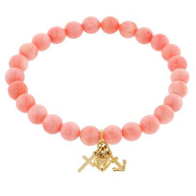 trendor 75530 Mädchen-Armband Bambuskoralle Rosé mit Anhänger Gold 333 4260641755301