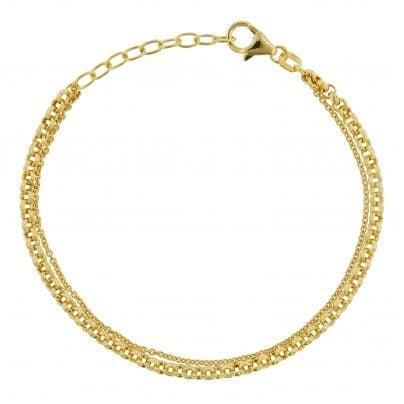 trendor 75663 Damen-Armband Armkette Zweireihig Silber 925 Vergoldet 4260641756636