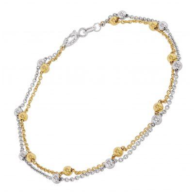 trendor 75666 Damen-Armband Armkettchen Zweireihig Bicolor Silber 4260641756667