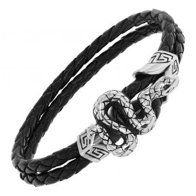 trendor 75800 Leder-Armband für Männer Schwarz 4260641758005