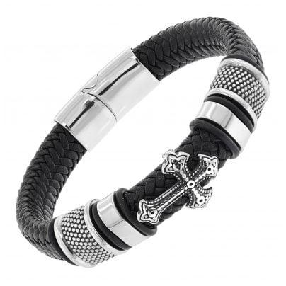 trendor 75878 Leder-Armband für Männer Schwarz mit Stahl Kreuz 4260641758784