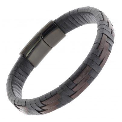 trendor 75879 Leder-Armband für Herren Schwarz / Braun 4260641758791