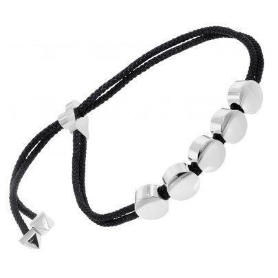 trendor 75890 Damen-Armband schwarzes Leder und Edelstahl 4260641758906