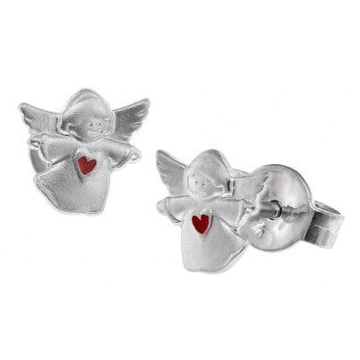 trendor 08535 Silber Kinder-Ohrringe Engel mit Rotem Herzen 4260497085355