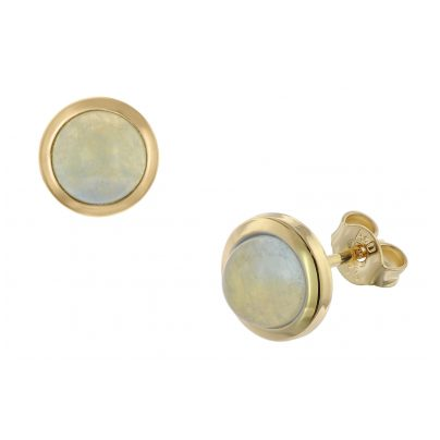 trendor 75037 Ladies' Earrings Gold 333 with Blue Chalcedony 8.5 mm 4260641750375