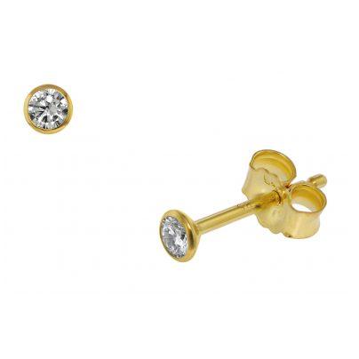 trendor 75097 Ohrstecker für Frauen und Männer 585 Gold (14 Kt) Zirkonia 3,0 m 4260641750979