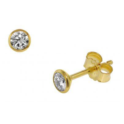 trendor 75099 Ohrstecker für Damen und Herren 585 Gold (14 Kt) Zirkonia 4,0 mm 4260641750993