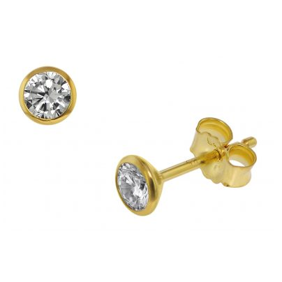 trendor 75100 Ohrstecker für Damen und Herren 585 Gold (14 Kt) Zirkonia 4,5 mm 4260641751006