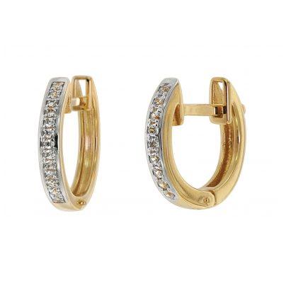 trendor 75359 Klapp-Creolen 12 mm Gold 585 / 14K Zirkonias 4260641753598