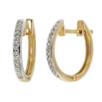 trendor 75363 Hoop Earrings 16 mm Gold 585 / 14K Cubic Zirconias 4260641753635