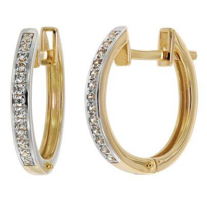trendor 75365 Klapp-Creolen 18 mm Gold 585 / 14K Zirkonias 4260641753659