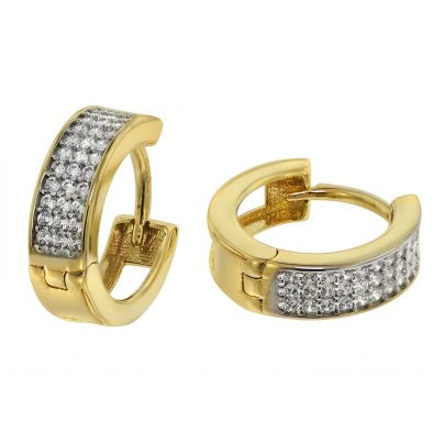 trendor 75566 Hinged Hoop Earrings 14 mm Gold 333 / 8K Cubic Zirconia 4260641755660
