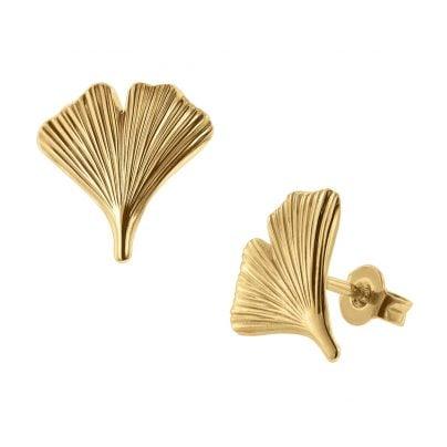 trendor 75723 Ohrstecker Gingko-Blatt Ohrringe Gold auf Silber 4260641757237