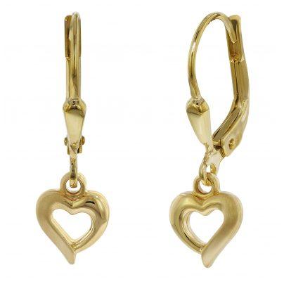trendor 75816 Kinder-Ohrringe Herz Gold auf Silber für Mädchen 4260641758166