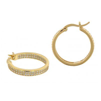 trendor 75842 Creolen Ohrringe Gold auf Silber Ø 20 mm Zirkonia 4260641758425