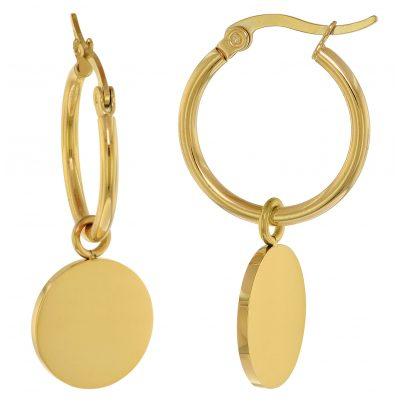 trendor 75898 Ohrringe Gold auf Edelstahl Creolen mit Anhänger 4260641758982