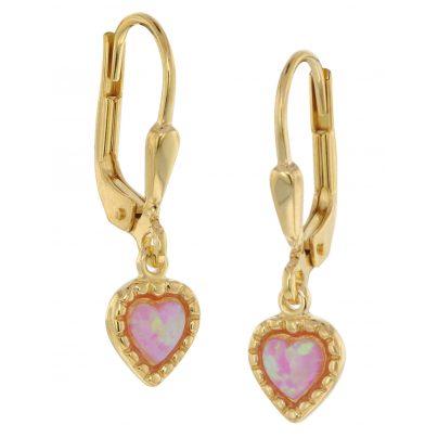 trendor 39033 Ohrringe für Mädchen Gold auf Silber synth. Opal 4260684390330
