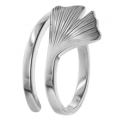trendor 75018 Silber Damen-Ring Gingko-Blatt