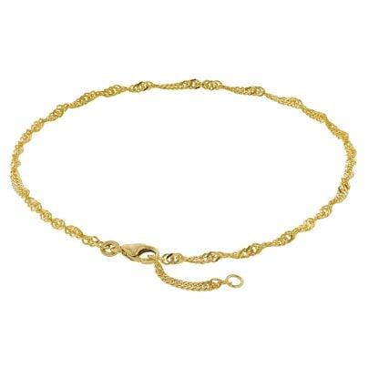 trendor 50507 Fußkettchen 333 Gold Singapur-Muster Breite 2,2 mm 4260435350507