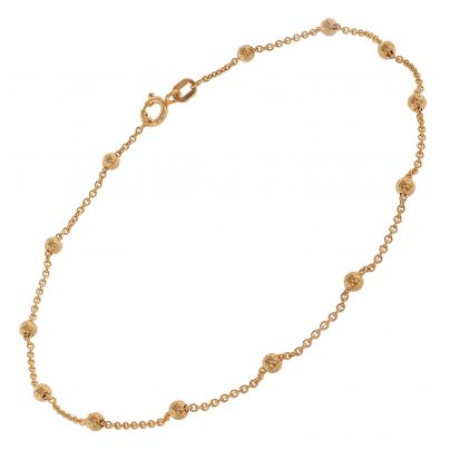 trendor 75657 Anklet with Beads Gold-Plated Silver 4260641756575