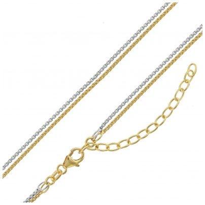 trendor 75150 Damen-Halskette Silber 925 Bicolor Venezia 2-Reihig 4260641751501