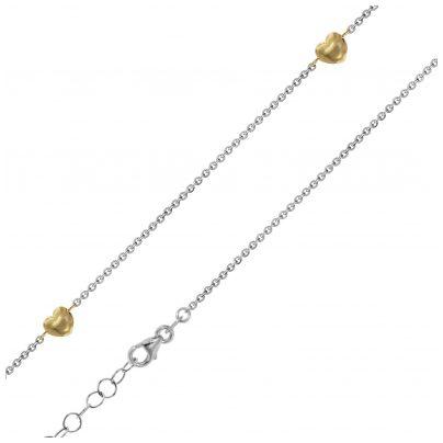 trendor 75195 Damen-Halskette Gelbgold 375 Bicolor mit 5 Herzchen 4260641751952