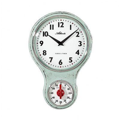 Atlanta 6124/6 Kitchen Wall Clock Nostalgia Light Green 4026934612467