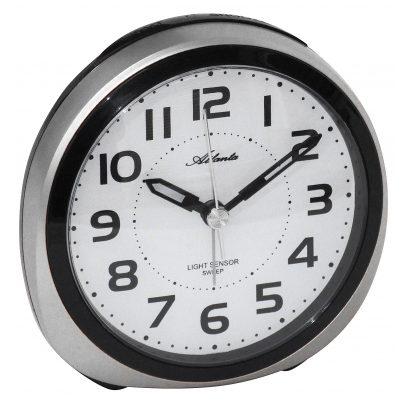 Atlanta 1954/19 Alarm Clock with Light Sensor Silver Tone 4026934195427