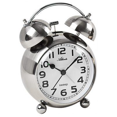 Atlanta 2102/19 Retro Alarm Clock with Bell Signal Silver Tone Metal Case 4026934210212