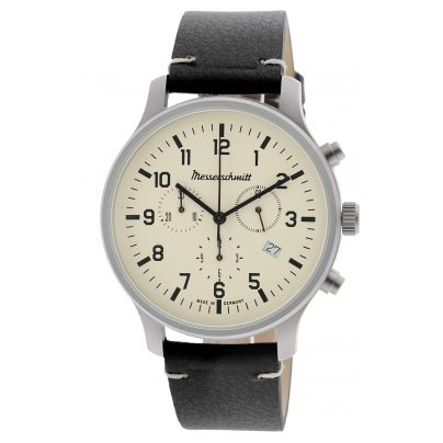 Messerschmitt ME-3H199L Herrenuhr Chronograph mit schwarzem Lederband 4260186269134