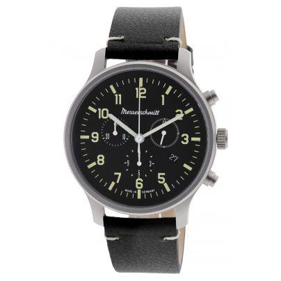 Messerschmitt ME-3H200L Men's Watch Chronograph with Black Leather Strap 4260186269141