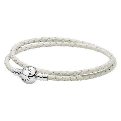 Pandora 590745CIW Doppel-Lederarmband Weiß