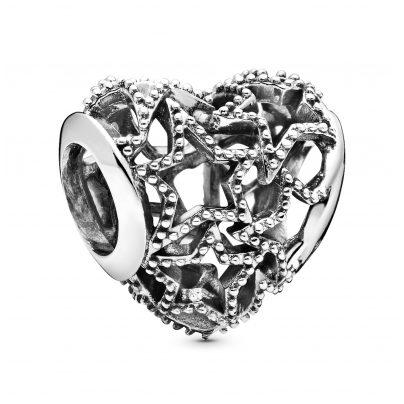 Pandora 798462C00 Silver Charm Openwork Heart & Beaded Stars 5700302827118