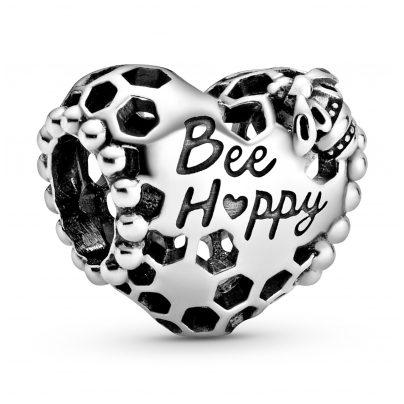 Pandora 798769C00 Silver Bead Charm Honeycomb Heart Bee Happy 5700302864304
