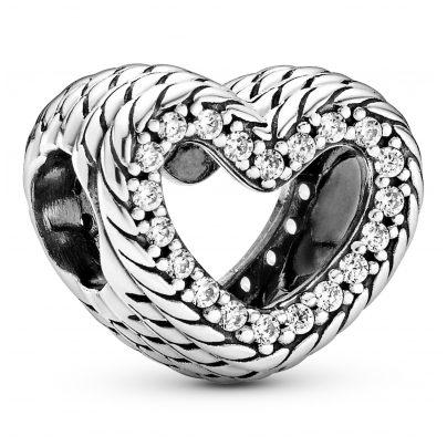 Pandora 799100C01 Silber Charm Herz mit Schlangenkettenmuster 5700302895735