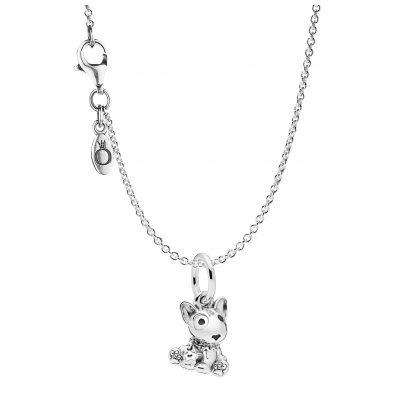 Pandora 75254 Halskette mit Charm Bull Terrier Puppy 925 Silber 4260641752546