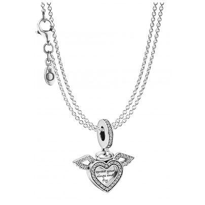 Pandora 75614 Anhänger Herz mit Engelsflügel & 2-reihige Halskette Silber 925 4260641756148