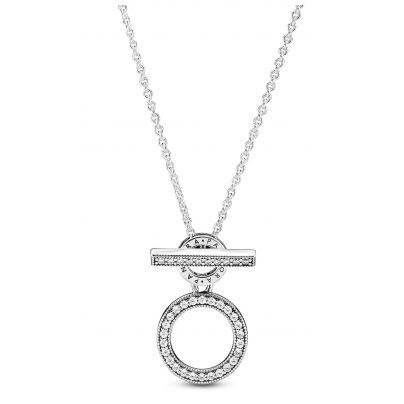 Pandora 399039C01-45 Damen-Kette Doppelte Kreise mit T-Verschluss Silber 5700302886788