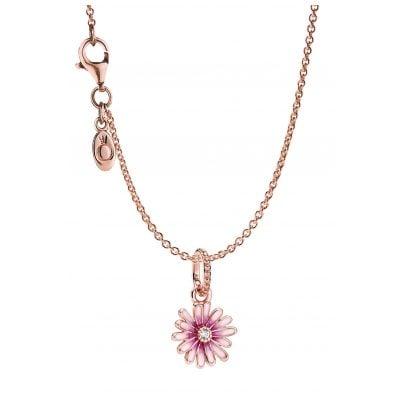 Pandora 39452 Rose Damen-Halskette Pinkes Gänseblümchen 4260684394529
