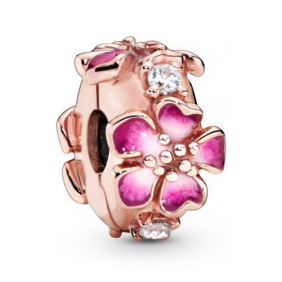 Pandora 788099CZ Rose Clip Charm Pink Peach Blossom Flower 5700302777055