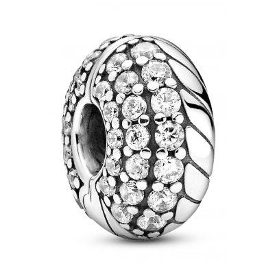 Pandora 799089C01 Clip-Charm Silber Pavé mit Schlangenkettenmuster 5700302895704
