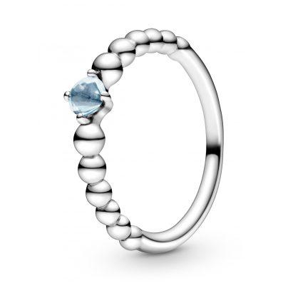 Pandora 198598C01 Silber Damenring Aqua Blue Beaded