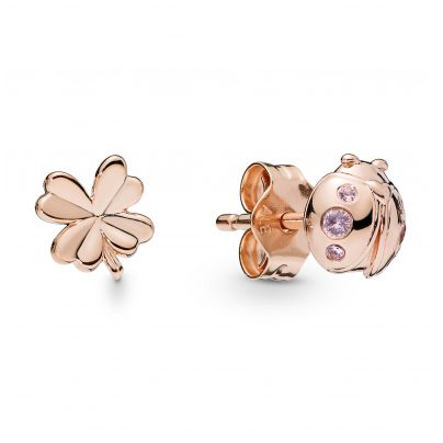 Pandora 287960NPO Rose Damen-Ohrstecker Four-Leaf Clover and Ladybird 5700302766141