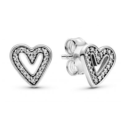 Pandora 298685C01 Ladies' Earrings Sparkling Freehand Hearts 5700302844184