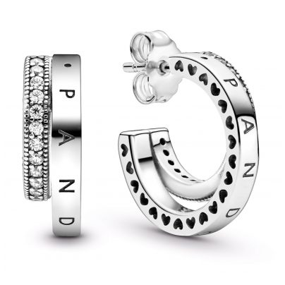 Pandora 299056C01 Doppelte Pavé-Ohrringe Silber 5700302886757