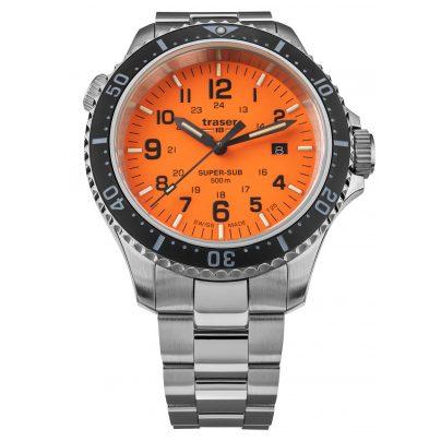 traser H3 109381 Herren-Taucheruhr P67 SuperSub Orange mit Stahlband 7630027704556