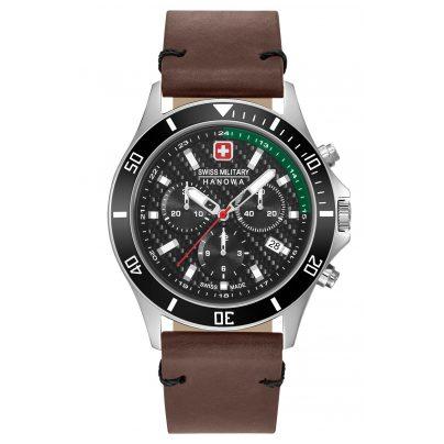 Swiss Military Hanowa 06-4337.04.007.06 Mens Watch Flagship Racer Chrono Brown Leather Strap 7620958001107